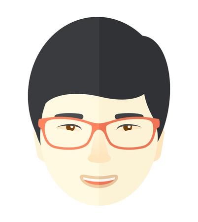 young professional: Un rostro joven asi�tico profesional usando anteojos. Un estilo contempor�neo. Aislado Vector dise�o plano ilustraci�n de fondo blanco. Dise�o Square