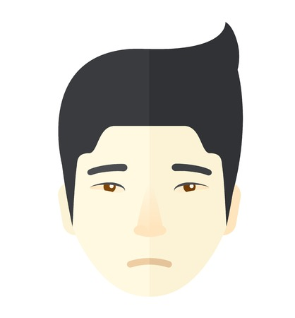 depress: A face of a sad but a good looking japanese guy with his hairstyle. A Contemporary style. Vector flat design illustration isolated white background. Square layout
