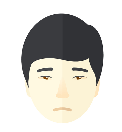 hand on chin: A bored young chinese man. A Contemporary style. Vector flat design illustration isolated white background. Square layout.