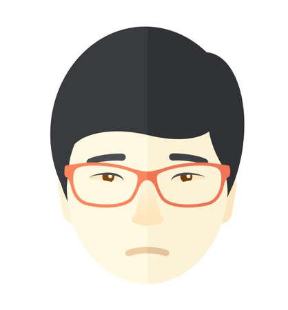 expression visage: Un gars asiatique solitaire. Une expression du visage d'un homme portant des lunettes asiatiques. Un style contemporain. Vector design plat illustration isol� fond blanc. Plan carr�