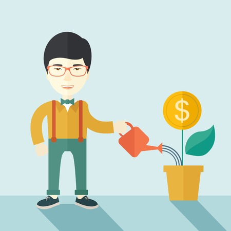 growing business: A happy chinese business person watering a growing plant with money flower. Growing business concept. A contemporary style with pastel palette soft blue tinted background. Vector flat design illustration. Square layout.