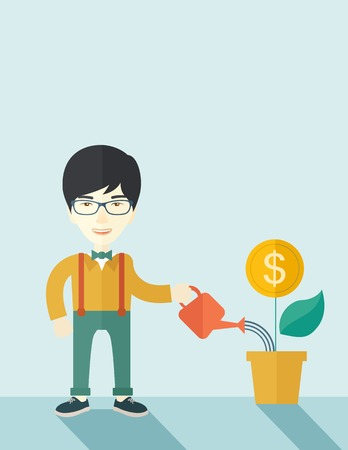 growing money: A happy chinese business person watering a growing plant with money flower. Growing business concept. A contemporary style with pastel palette soft blue tinted background. Vector flat design illustration. vertical layout with text space on top part. Illustration