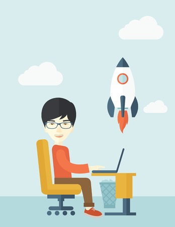 An asian man sitting with his laptop is searching for a new business project. Start up business concept. A contemporary style with pastel palette soft blue tinted background with desaturated clouds. Vector flat design illustration. Vertical layout.