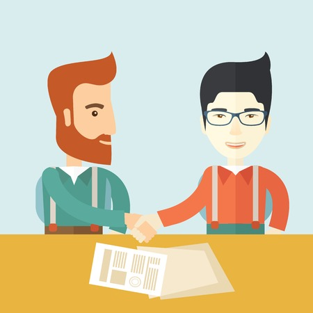 lay: A white american and chinese businessmen handshaking and  having a business meeting with a contract to be sign. Business partnership concept. A contemporary style with pastel palette soft blue tinted background. Vector flat design illustration. Square lay