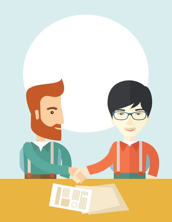 handshaking: A white american and chinese businessmen handshaking and  having a business meeting with a contract to be sign. Business partnership concept. A contemporary style with pastel palette soft blue tinted background. Vector flat design illustration. Vertical l