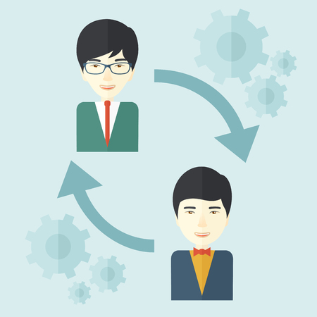 Two asian men in exchanging ideas. Partnership concept. A contemporary style with pastel palette soft blue tinted background. Vector flat design illustration. Square layout.