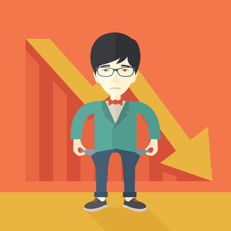 young man standing: A chinese young man standing and feels bad because of his failure in his business career. Failed, bankrupt concept. A contemporary style with pastel palette soft orange tinted background. Vector flat design illustration. Square layout. Illustration