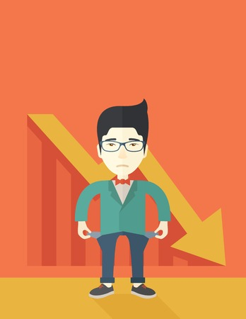 A chinese young man standing and feels bad because of his failure in his business career. Failed, bankrupt concept. A contemporary style with pastel palette soft orange tinted background. Vector flat design illustration. Vertical layout with text space on