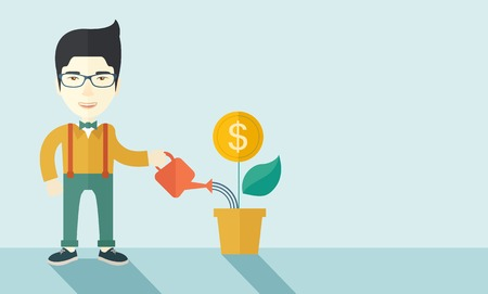 growing money: A happy chinese business person watering a growing plant with money flower. Growing business concept. A contemporary style with pastel palette soft blue tinted background. Vector flat design illustration. Horizontal layout with text space in right side.