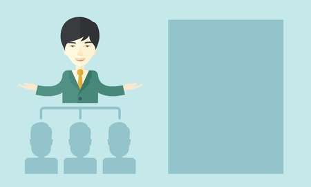 asian business: An asian smart gentleman giving a business to his co workers. Business concept. A Contemporary style with pastel palette, soft blue tinted background. Vector flat design illustration. Horizontal layout.