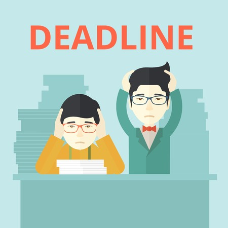 worried executive: A two aisan empoloyees is burnout  having a problem meeting the deadline, so many paper works to attend to. A Contemporary style with pastel palette, soft blue tinted background. Vector flat design illustration. Square layout. Illustration