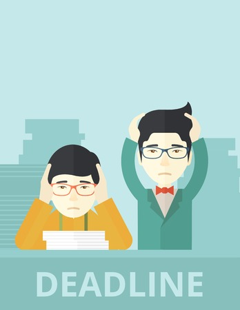burnout: A two aisan empoloyees is burnout  having a problem meeting the deadline, so many paper works to attend to. A Contemporary style with pastel palette, soft blue tinted background. Vector flat design illustration. Vertical layout.