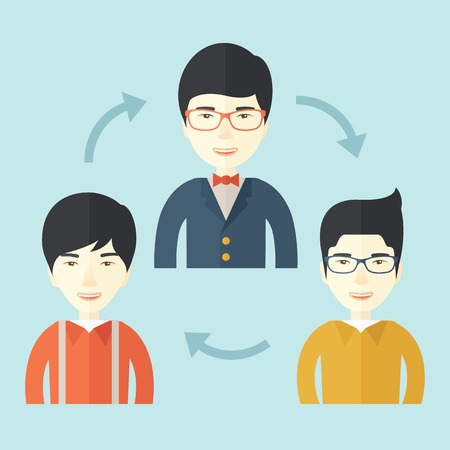 business meeting asian: A smiling group young asian are in brainstorming for their marketing presentation. teamwork concept. A Contemporary style with pastel palette, soft blue tinted background. Vector flat design illustration. Square layout.