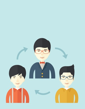 asian business meeting: A smiling group young asian are in brainstorming for their marketing presentation. teamwork concept. A Contemporary style with pastel palette, soft blue tinted background. Vector flat design illustration. Vertical layout with text space on top part. Illustration