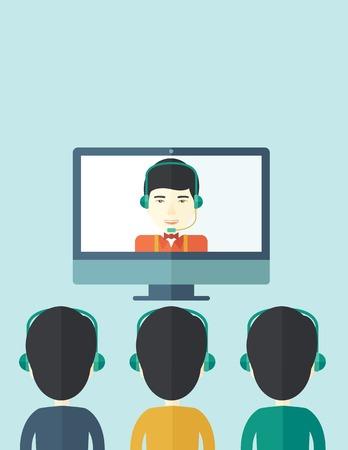 business meeting asian: Un groupe d'employ�s avec des gars chinois en portant des �couteurs ordinateur ayant une entreprise sur la conf�rence de la ligne et de la communication r�union remue-m�ninges. Leadership concept. Un style contemporain avec palette pastel, doux fond teint� bleu. Vector design plat Illustration