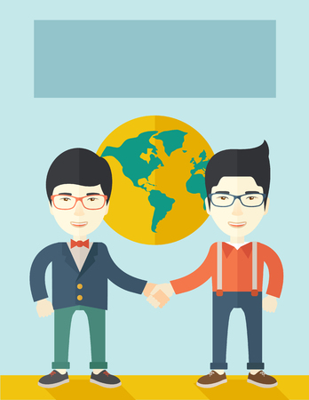 asian business team: A two chinese men happily handshaking with their International or global world corporation business. Partnership concept. A Contemporary style with pastel palette, soft blue tinted background. Vector flat design illustration. Vertical layout.