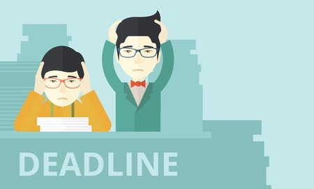worried executive: A two aisan empoloyees is burnout  having a problem meeting the deadline, so many paper works to attend to. A Contemporary style with pastel palette, soft blue tinted background. Vector flat design illustration. Horizontal layout. Illustration