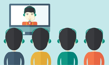 asian business meeting: A group of employees with chinese guys in computer wearing headphones having a  business on line conference and communication meeting brainstorm. Leadership concept. A Contemporary style with pastel palette, soft blue tinted background. Vector flat design