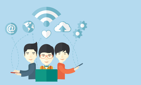 An asian businessmen using different kind of modern technology with internet wifi, bulb, cloud with downloading symbol, global and gear in the picture. Business concept. A Contemporary style with pastel palette, soft blue tinted background. Vector flat de