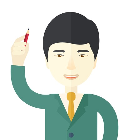 teamleader: A chinese man holding a pen making his presentation. Teamleader concept. A Contemporary style. Vector flat design illustration isolated white background. Square layout