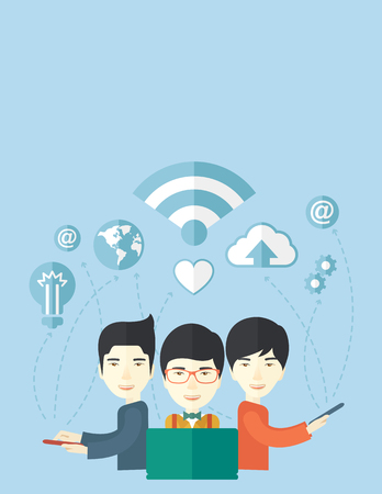 asian business: An asian businessmen using different kind of modern technology with internet wifi, bulb, cloud with downloading symbol, global and gear in the picture. Business concept. A Contemporary style with pastel palette, soft blue tinted background. Vector flat de