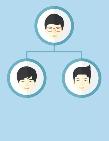 discussion forum: A group of asian man gather to have a business meeting and brainstorming. Business group concept. A Contemporary style with pastel palette, soft blue tinted background. Vector flat design illustration. Vertical layout with text space on bottom part. Illustration