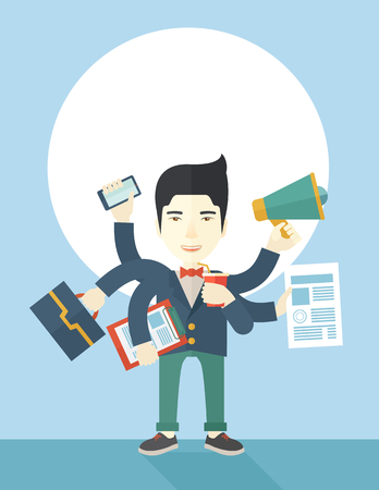 multitask: A young but happy japanese employee has six arms doing multiple office tasks at once as a symbol of the ability to multitask, performing multiple task simultaneously. Multitasking concept. A Contemporary style with pastel palette, soft blue tinted backgro