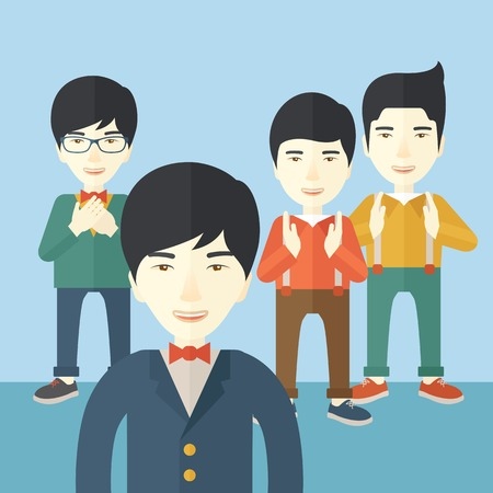 A handsome asian businessmen happy standing showing for their successful in life. . A Contemporary style with pastel palette, soft blue tinted background. Vector flat design illustration. Square layout.
