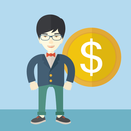 A happy chinese businessman standing with a big dollar coin beside him as a sign of his success in business. Business growth concept.  A Contemporary style with pastel palette, soft blue tinted background. Vector flat design illustration. Square layout. Illustration