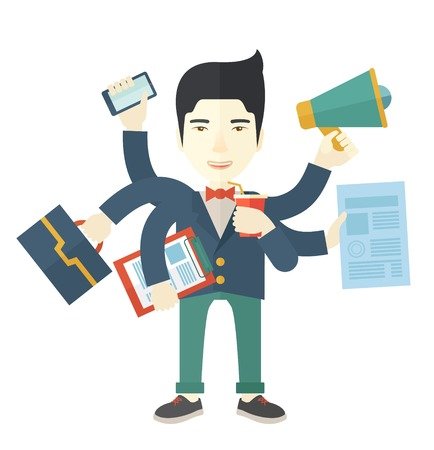 once: A young but happy japanese employee has six arms doing multiple office tasks at once as a symbol of the ability to multitask, performing multiple task simultaneously. Multitasking concept. A Contemporary style. Vector flat design illustration isolated whi Illustration