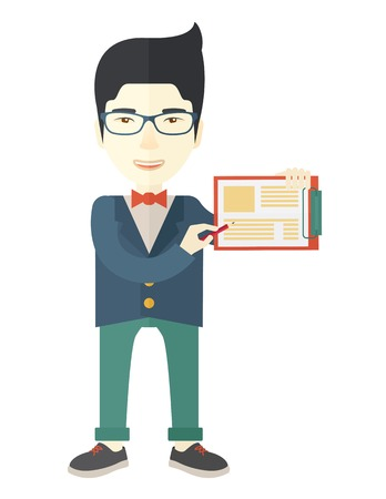 saleman: A handsome hipster Caucasian man wearing blue jacket holding his clipboard with paper where he wrote his report happily presenting his marketing plan. Marketing strategy concept. A Contemporary style. Vector flat design illustration isolated white backgro