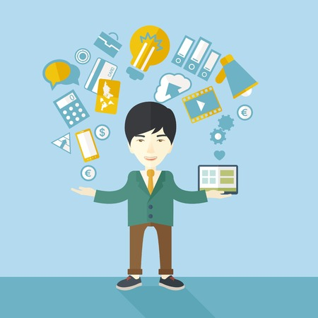 A happy chinese self employed standing enjoying doing multitasking, working on different projects from his home office only by himself. Self reliance concept. A contemporary style with pastel palette soft blue tinted background. Vector flat design illustr
