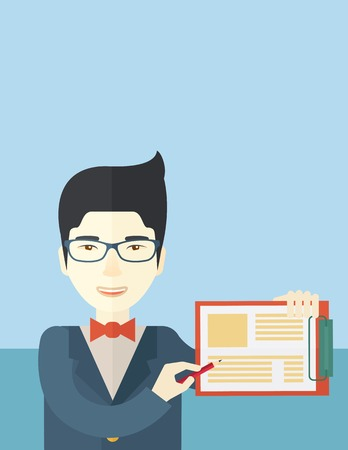 saleman: A handsome hipster Caucasian man wearing blue jacket holding his clipboard with paper where he wrote his report happily presenting his marketing plan. Marketing strategy concept. A contemporary style with pastel palette soft blue tinted background. Vector