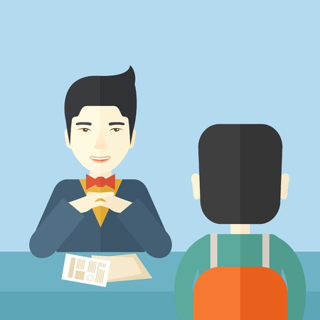 interview: A smiling chinese human resource manager interviewed the applicant with his curriculum vitae for the job vacancy. Employment, recruitment concept. A contemporary style with pastel palette soft blue tinted background. Vector flat design illustration. Squar