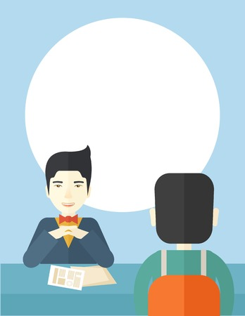 interview: A smiling chinese human resource manager interviewed the applicant with his curriculum vitae for the job vacancy. Employment, recruitment concept. A contemporary style with pastel palette soft blue tinted background. Vector flat design illustration. Verti