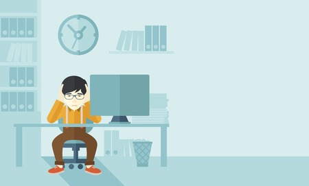 work stress: An overworked japanese businessman sitting infront of computer holding his head by two hands, under stress causing a headache. Unhappy concept. A contemporary style with pastel palette soft blue tinted background. Vector flat design illustration. Horizont