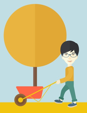 orange tree: A young japanese man pushing the cart with orange tree. Business growth concept. A Contemporary style with pastel palette, soft blue tinted background. Vector flat design illustration. Vertical layout.