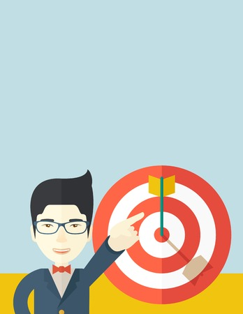 A japanese salesman happy standing while his hand pointing to the arrow from target pad shows that he hit his target sales. Business concept. A Contemporary style with pastel palette, soft blue tinted background. Vector flat design illustration. Vertical