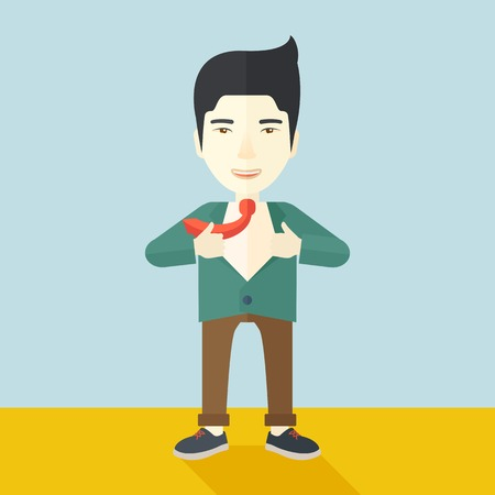 beginnings: A happy working chinese man want to change his clothes as to change his position in the company. Successful concept. A Contemporary style with pastel palette, soft blue tinted background. Vector flat design illustration. square layout.