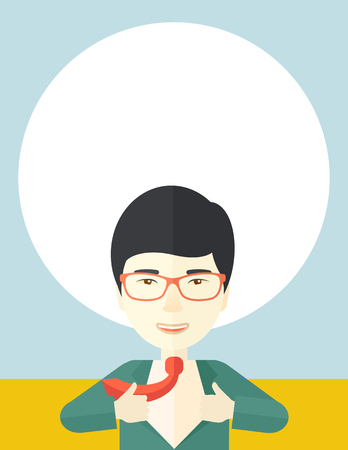 beginnings: A happy working chinese man want to change his clothes as to change his position in the company. Successful concept. A Contemporary style with pastel palette, soft blue tinted background. Vector flat design illustration. Vertical layout.