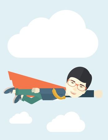 achieve goal: A superhero asian businessman flying high to achieve his goal. Challenge concept. A Contemporary style with pastel palette, soft blue tinted background with desaturated clouds. Vector flat design illustration. Vertical layout.