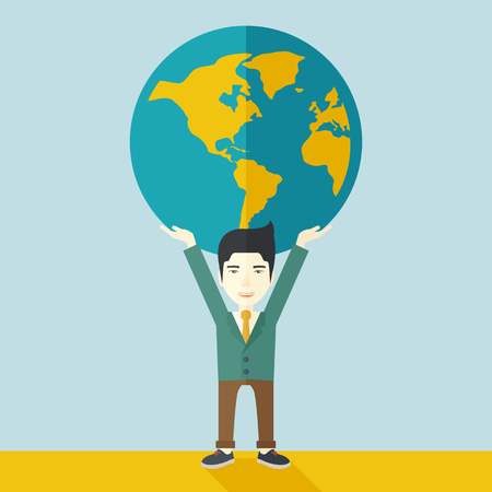 businessman carrying a globe: A chinese businessman carrying big globe it is a symbol that he is number one in the world in business society. A Contemporary style with pastel palette, soft blue tinted background. Vector flat design illustration. Square layout.