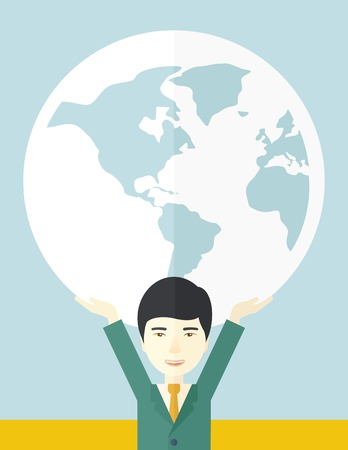 businessman carrying a globe: A chinese businessman carrying big globe it is a symbol that he is number one in the world in business society. A Contemporary style with pastel palette, soft blue tinted background. Vector flat design illustration. Vertical layout.