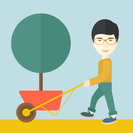 A young japanese man pushing the cart with green tree. Business growth concept. A Contemporary style with pastel palette, soft blue tinted background. Vector flat design illustration. Square layout.