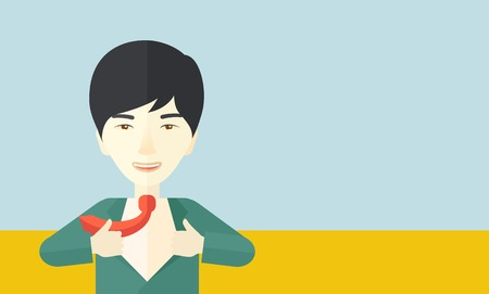 beginnings: A happy working chinese man want to change his clothes as to change his position in the company. Successful concept. A Contemporary style with pastel palette, soft blue tinted background. Vector flat design illustration. Horizontal layout with text space