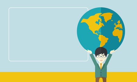 A chinese businessman carrying big globe it is a symbol that he is number one in the world in business society. A Contemporary style with pastel palette, soft blue tinted background. Vector flat design illustration. Horizontal layout with text space in le