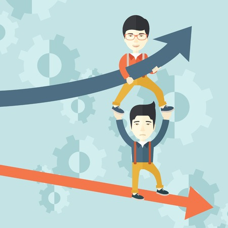 A two asian guy helping with business arrows, blue up and red down and gears background. Teamwork concept. A contemporary style with pastel palette soft blue tinted background. Vector flat design illustration. Square layout.