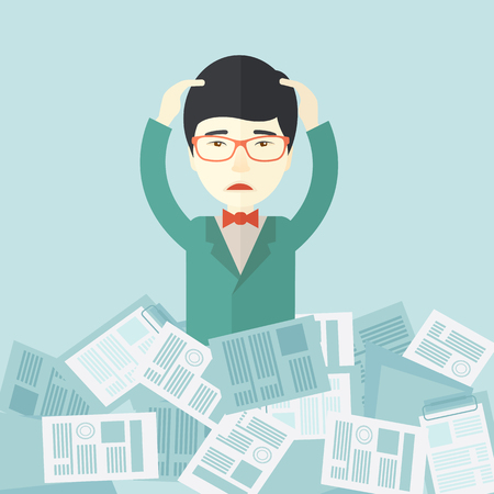 try: A japanese employee has a lot to do work with those papers around him and having a problem on how to meet the deadline of his report. Disappointment Concept. A contemporary style with pastel palette soft blue tinted background. Vector flat design illustra Illustration