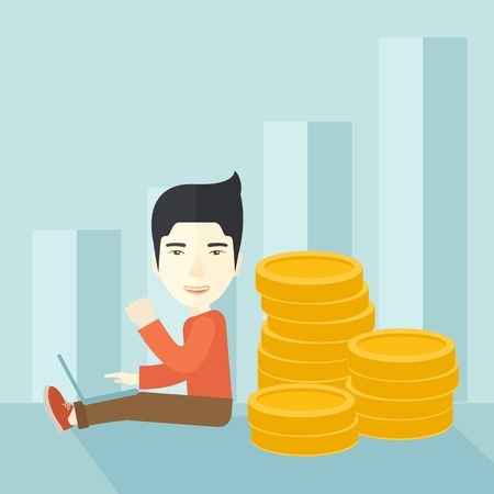 A successful chinese businessman sitting with pile of gold at his back and a laptop on his lap. Winner concept. A contemporary style with pastel palette soft blue tinted background. Vector flat design illustration. Square layout.