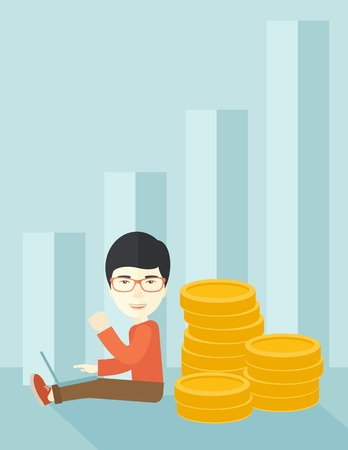 A successful chinese businessman sitting with pile of gold at his back and a laptop on his lap. Winner concept. A contemporary style with pastel palette soft blue tinted background. Vector flat design illustration. Vertical layout.